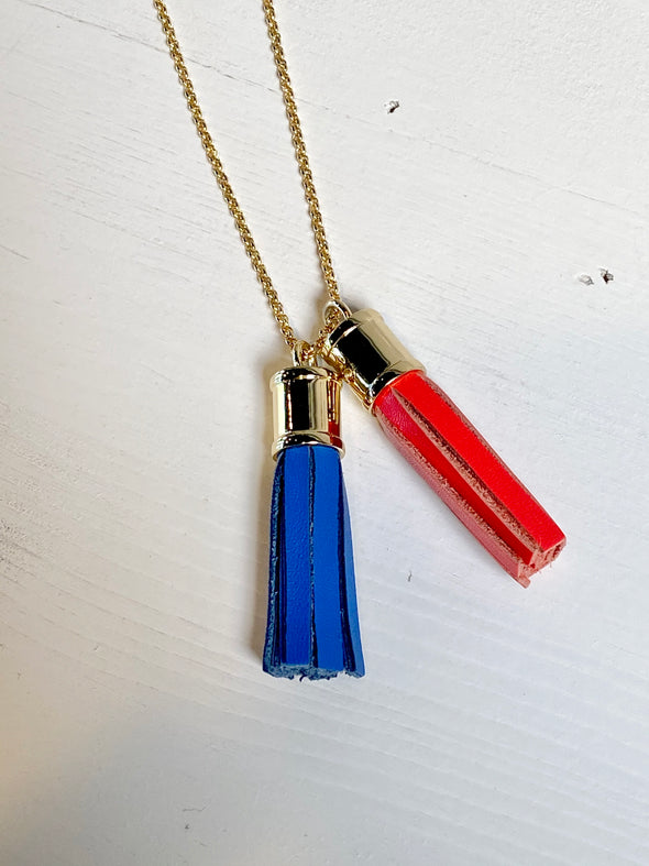 PATRIOTIC TASSEL NECKLACE