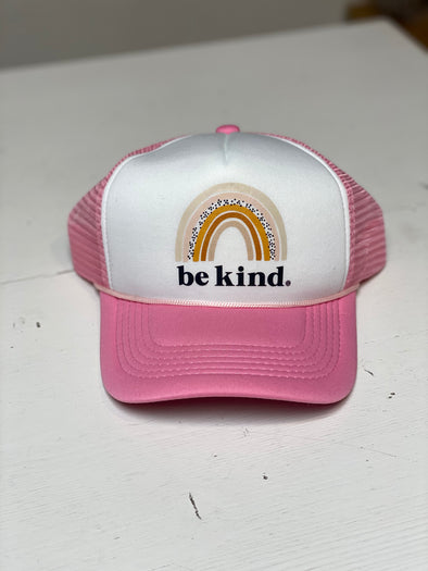BE KIND RAINBOW PINK TRUCKER HAT