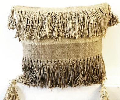 TAN FRINGE PILLOW