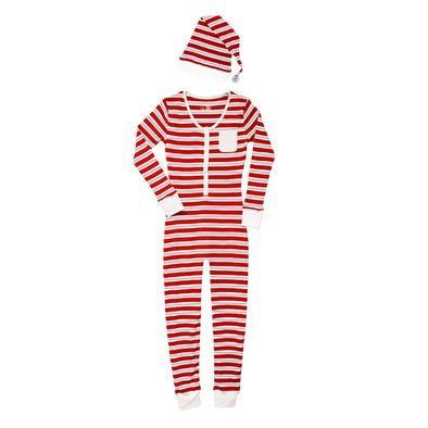 ORGANIC WOMEN'S ONESIE & CAP SET - PEPPERMINT STRIPE