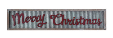 "Wood Framed Corrugated Metal Wall Decor w/ Raised Wood ""Merry Christmas"""