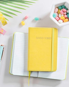 "YELLOW LEATHERETTE ""GOOD VIBES"" SMALL JOURNAL NOTEBOOK"