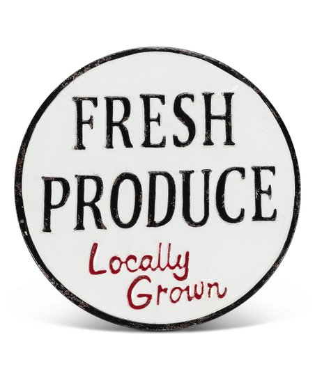 BLACK & WHITE FRESH PRODUCE, GROWN LOCALLY WALL SIGN