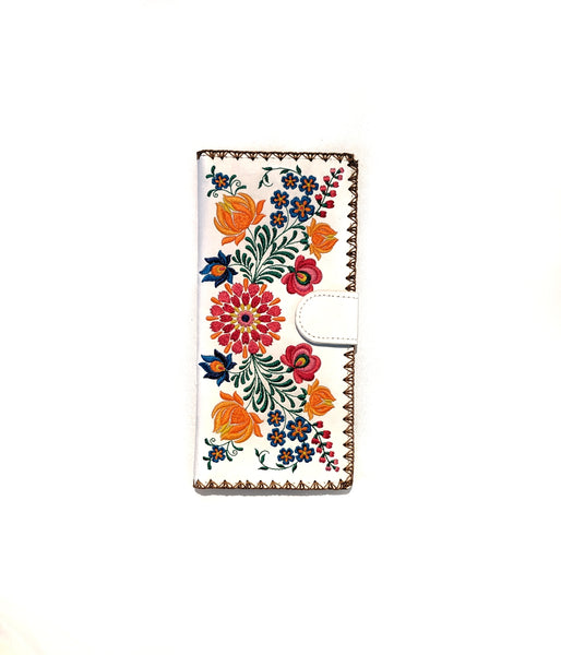 Lavishy Vegan Leather Floral Wallet   WHITE
