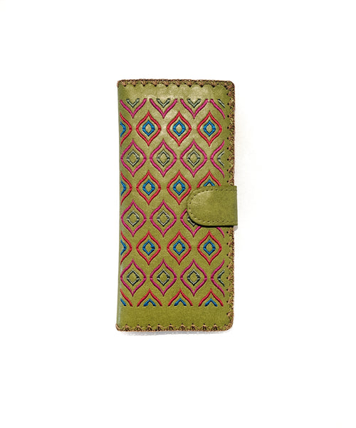 Lavishy Vegan Leather Aztec Wallet   GREEN
