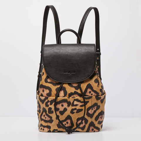 Urban Originals Vegan Leather Splendour Backpack TAN/LEOPARD