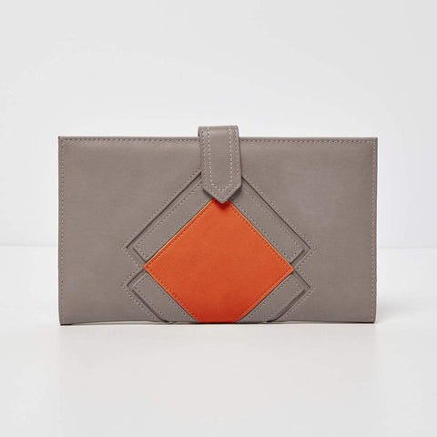 Urban Originals Vegan Leather Ventura Wallet   GREY/ORANGE