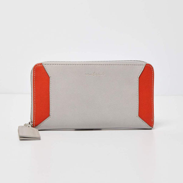 Urban Originals Vegan Leather Take Me Away Wallet   GREY/ORANGE