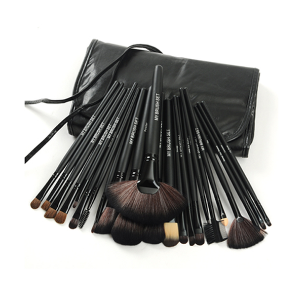 24 Piece Jet Black Make Up Brush Set - Best Seller - Black Friday Special - Deal Ends Soon