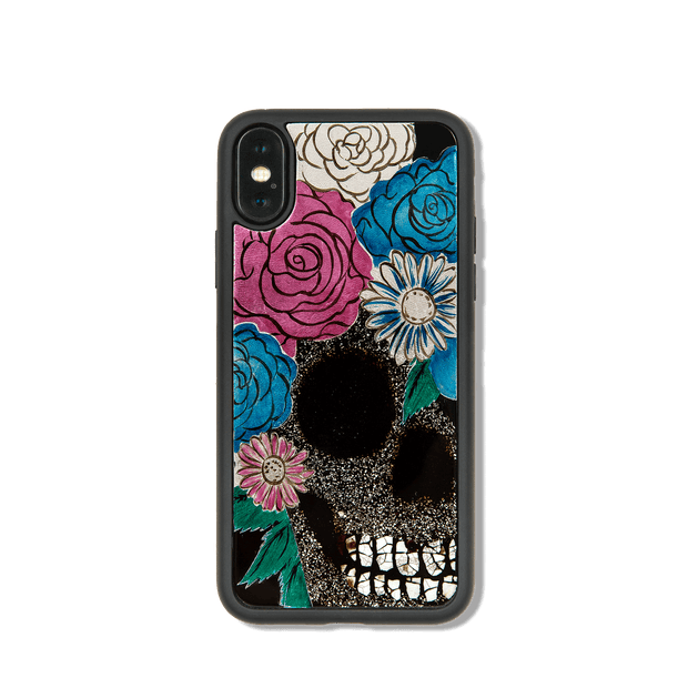 Skull with floral hair, iPhone X/Xs