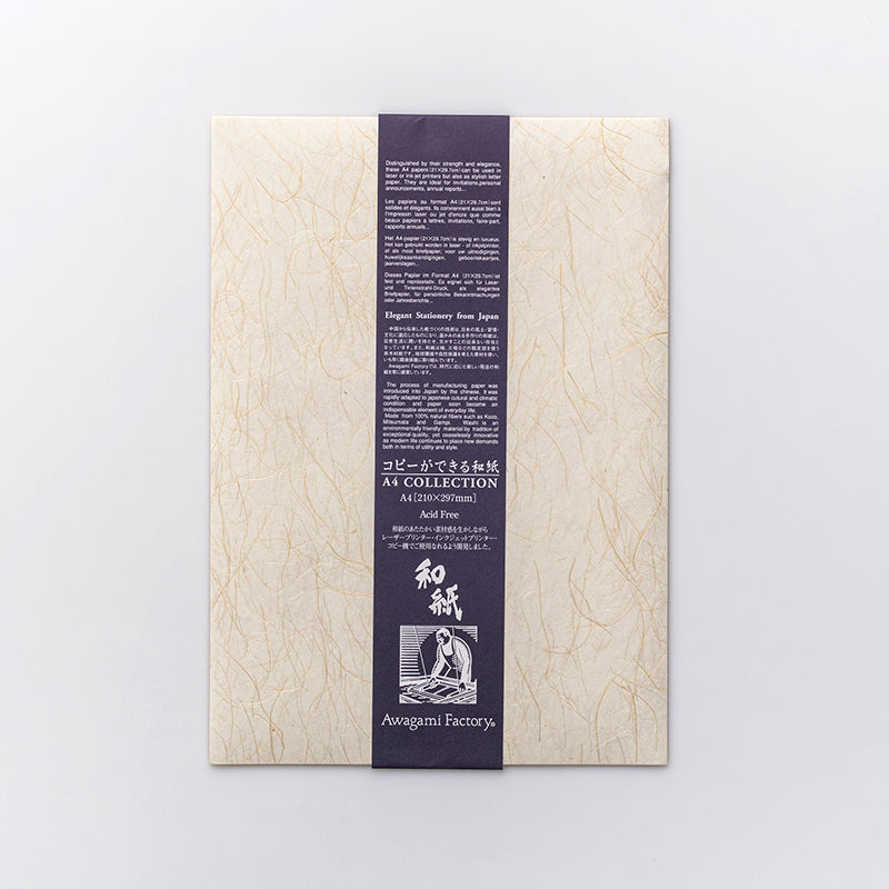 A4 Washi Paper Pack- Ogura Hemp Fibers (10 sheets)
