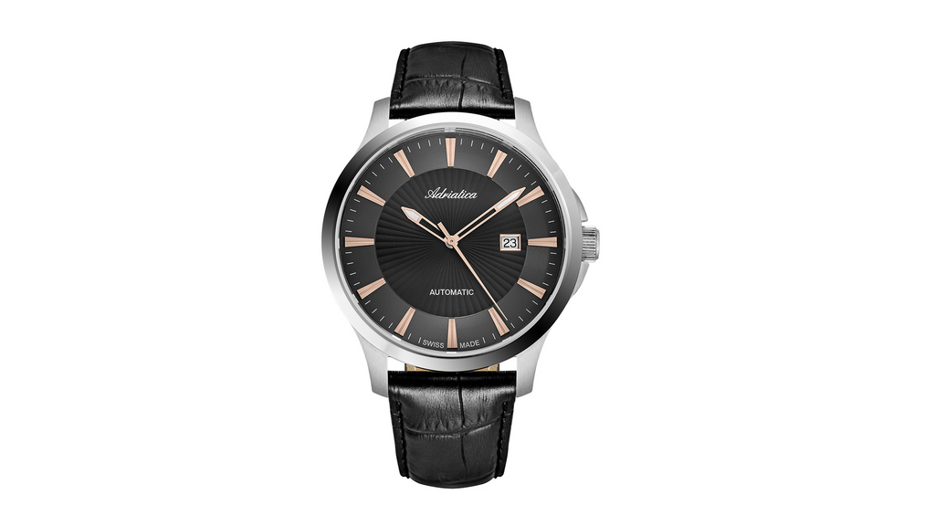 Adriatica Slim 47mm Swiss-Automatic ETA2824 Stainless Steel Grey/Rose Gold Dial Black Leather Strap