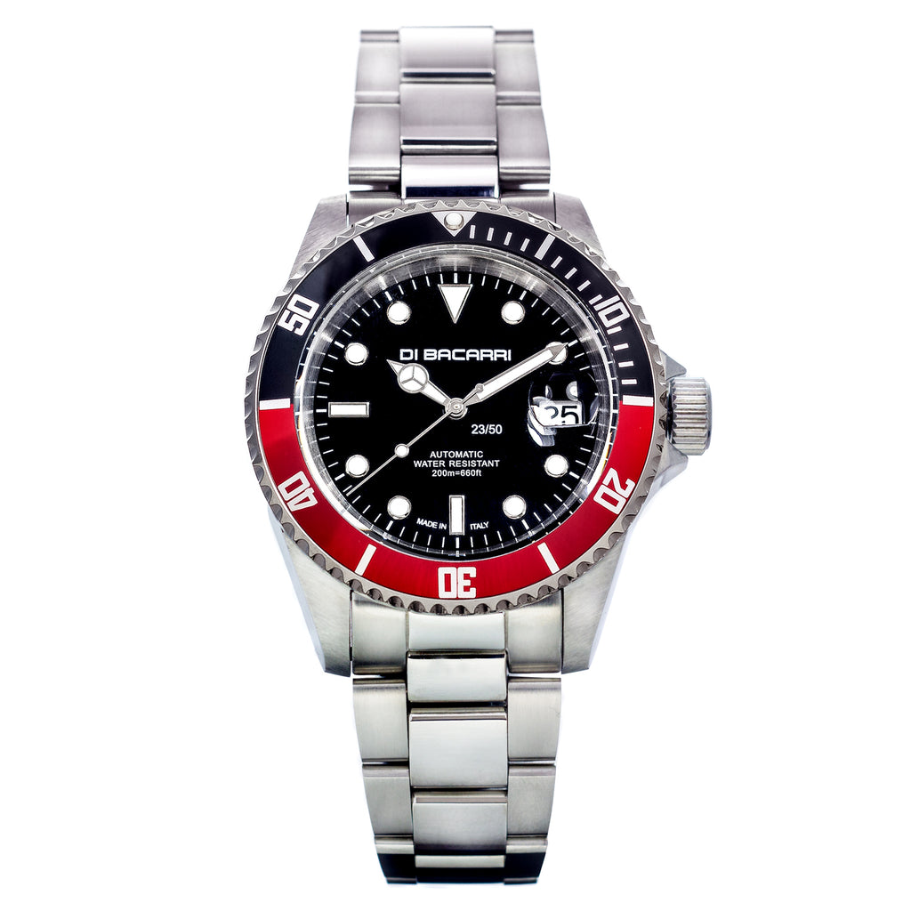 Di Bacarri Marina 42mm Superluminova  Limited Edition BLK Red Rotatable Bezel Stainless Steel Band