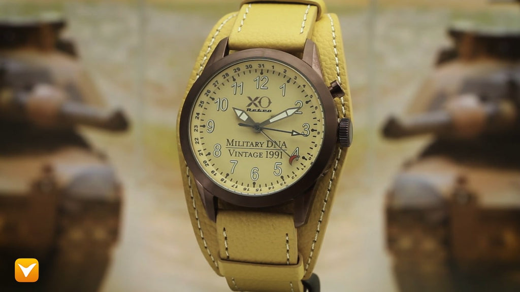 XO Retro Men's Certified 1991 M1 Abrams Military Tank DNA - Triple Date - Brown IP Tan Dial