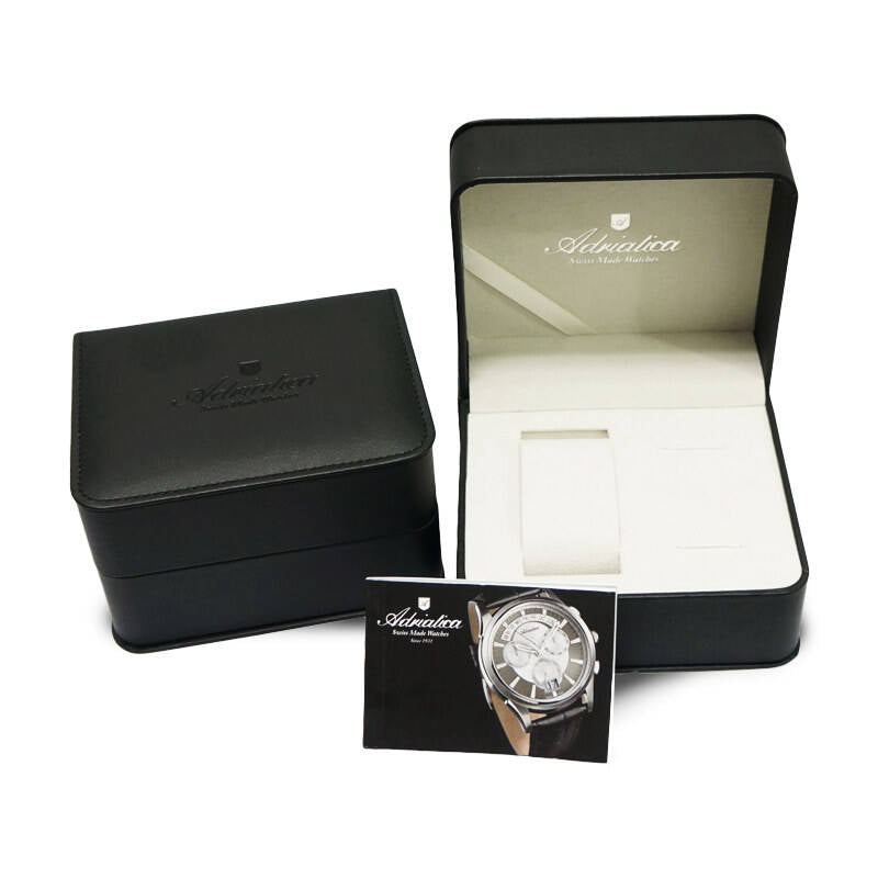 Adriatica Slim 47mm Swiss-Automatic ETA2824 Stainless Steel Silver Dial Black Leather Strap