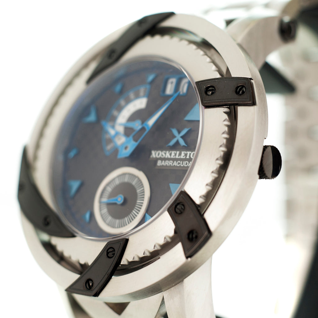 XOSkeleton Barracuda Swiss Ronda 22pcs Gunmetal  CarbonFilber Dial Blue Accents