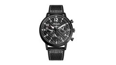 Adriatica Limited Edition Swiss Made Multifunction Aviation Black IP Black Textured Dial Black Leather Strap