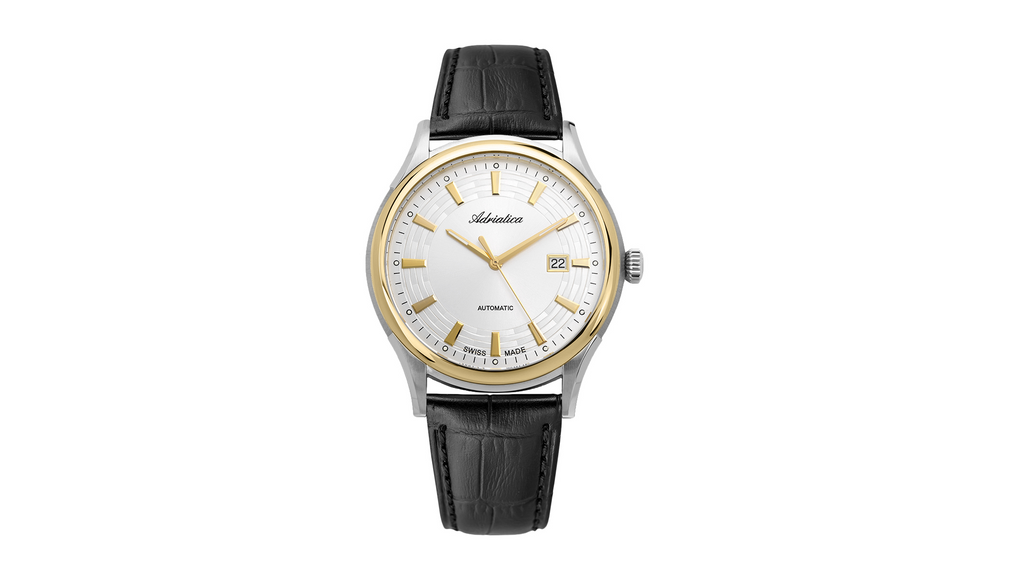 Adriatica Slim 42mm Swiss-Automatic ETA2824 Gold Tone White Dial Black Leather Strap