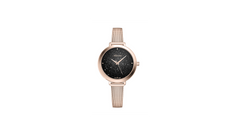 Adriatica Ladies Swiss Made Milano Rose Gold Black Crystal Dial