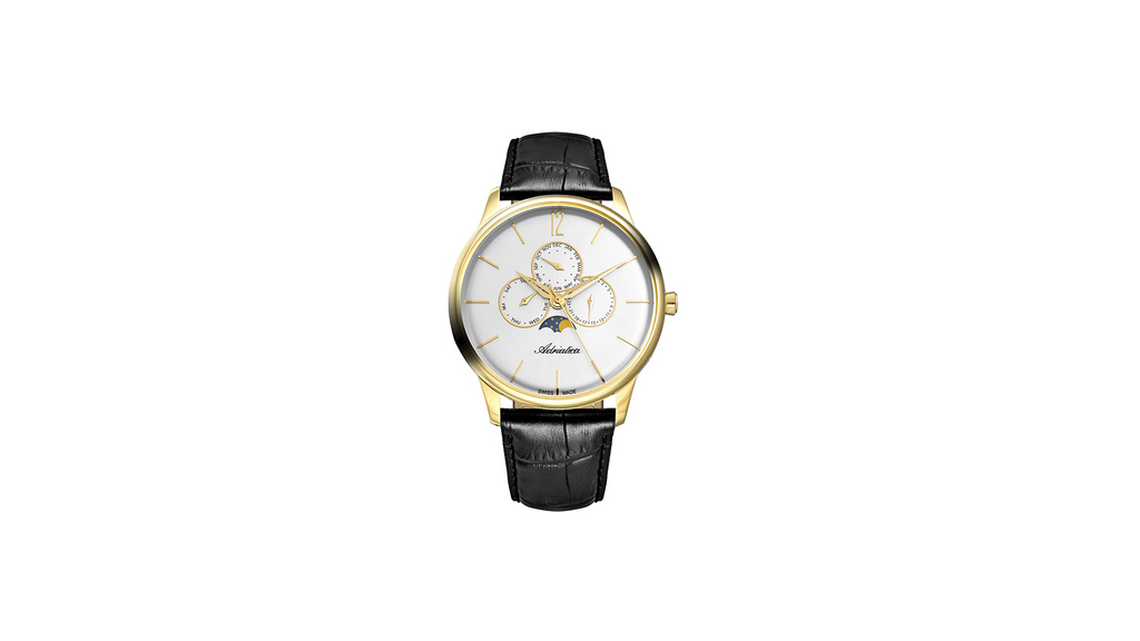 Adriatica Gent's 45mm Swiss Made Triple Date Moonphase Gold Tone Grey Dial Black Leather Strap