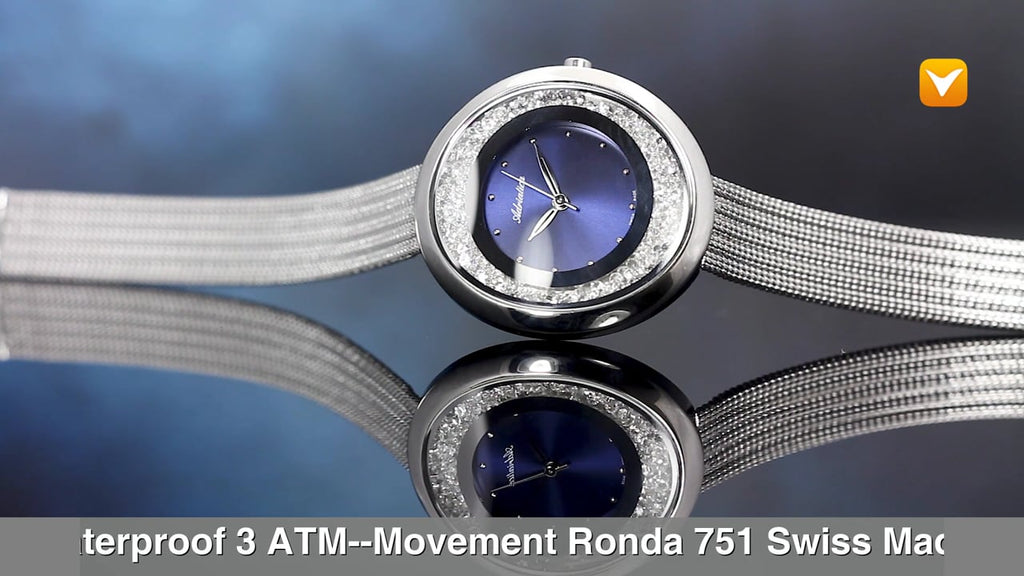 Adriatica Limited Edition Ladies Swiss Made Timepiece - Stainless Steel Blue Dial Swarovski Crystals