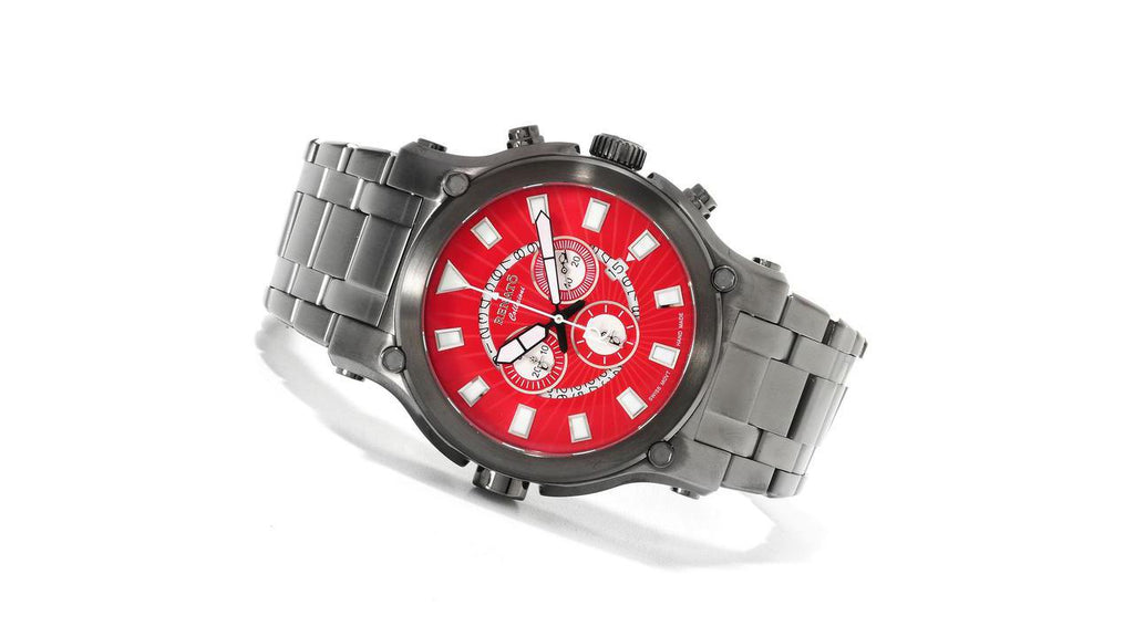 Renato Robusto 50mm Swiss Chronograph Gunmetal Electric Red Dial
