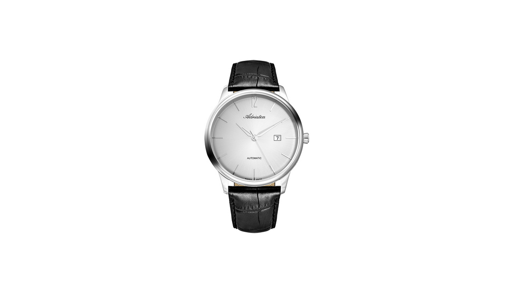 Adriatica 44MM Swiss-Automatic ETA 2824 Automatic White Dial Black Leather Strap