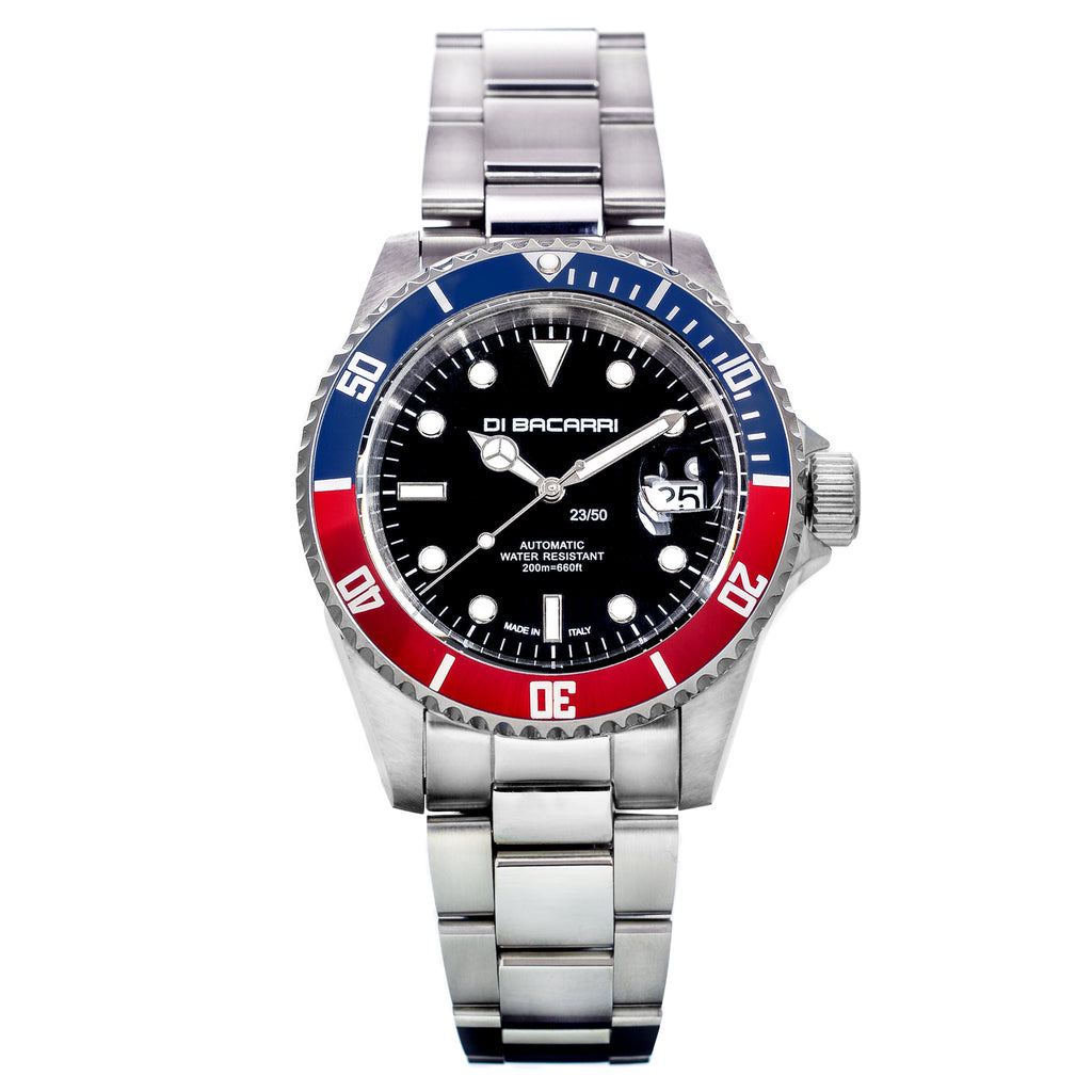 Di Bacarri Limited Edition 42mm Marina Diver Stainless Steel Black Dial Blue/Red Bezel