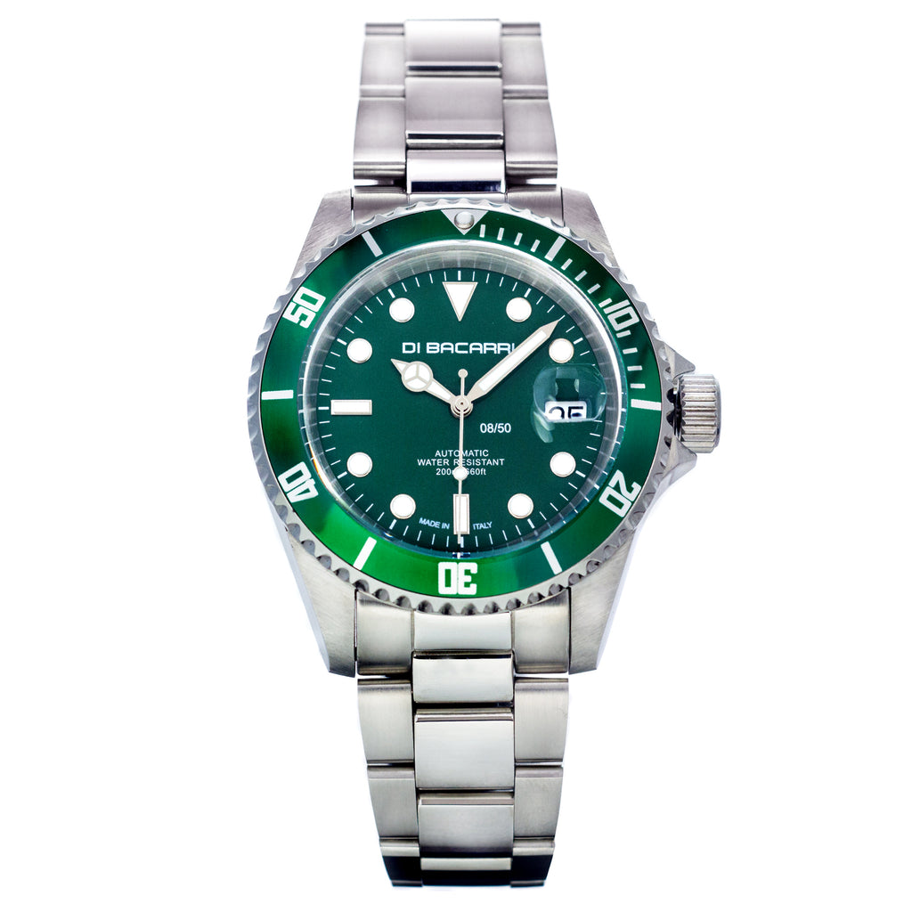 Di Bacarri Limited Edition 42mm Marina Diver Stainless Steel Green Dial Green Bezel