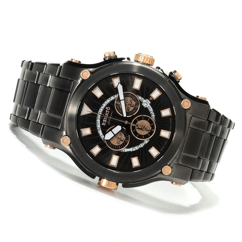 Renato Robusto 50 Swiss Chronograph Gunmetal Rose Gold Accents