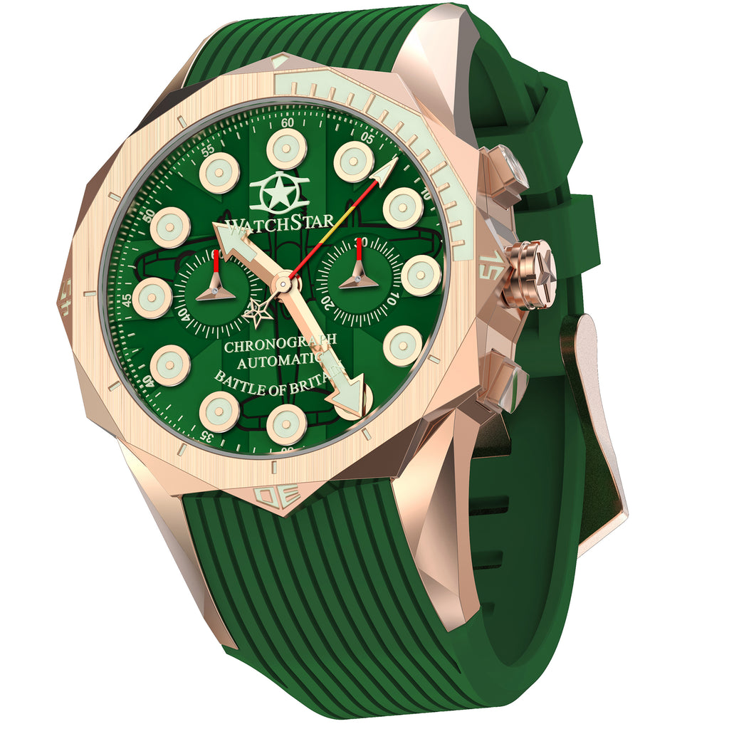 Watchstar Supermarine Spitfire 33 Jewel Automatic Chronograph Rose Gold Green Dial