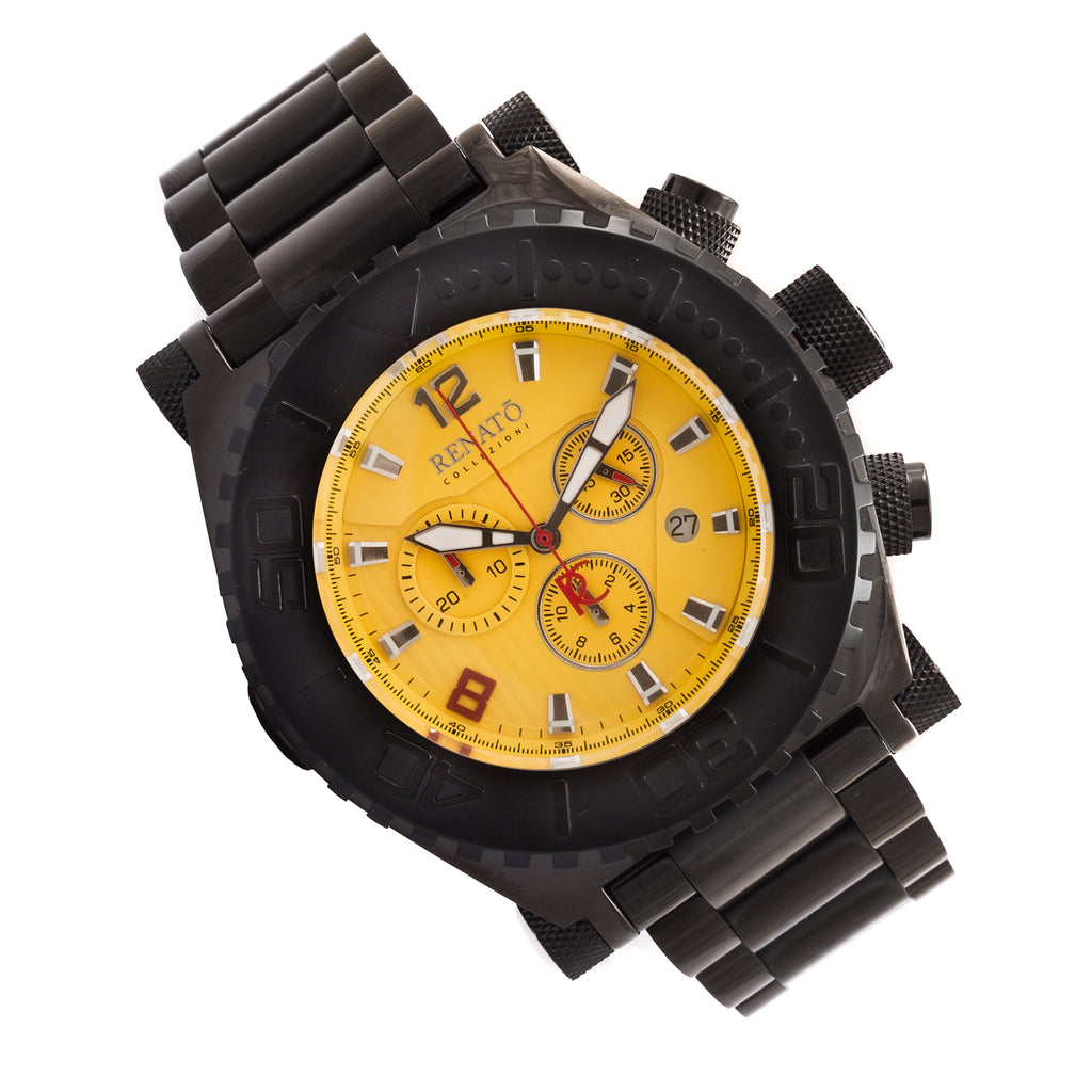 Renato Emporium Swiss Chronograph Diver Black IP Yellow Dial