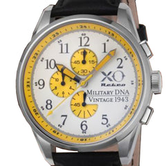 XO Retro Men's Certified 1943 P-38 Lightning Plane DNA White Dial Black Strap