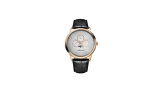 Adriatica Gent's 45mm Swiss Made Triple Date Moonphase Rose Gold Grey Dial Black Leather Strap