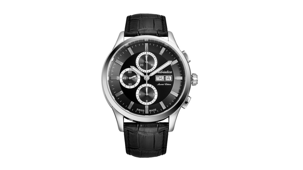 Adriatica 45mm Limited Edition Swiss Made ETA7750 Black Dial Black Leather Strap
