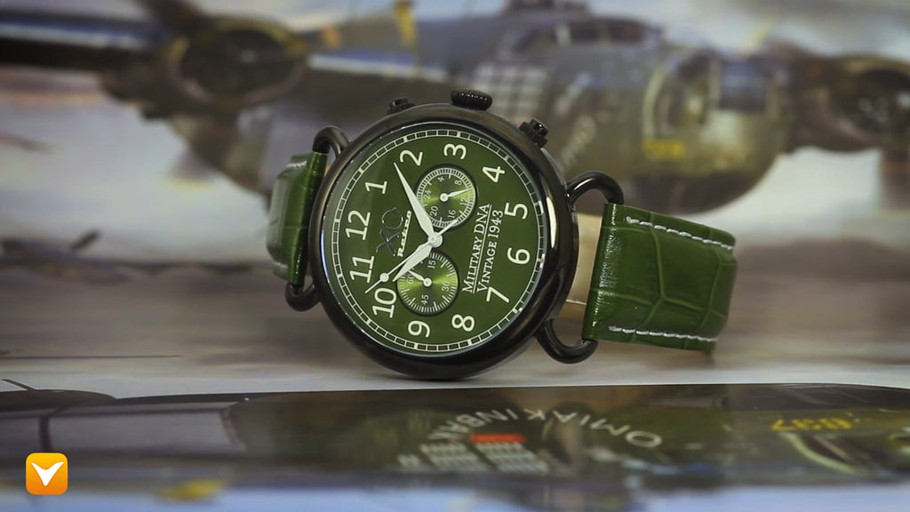 XO Retro Men's Certified 1943 B-17 Flying Fortress DNA Green Dial Green Strap