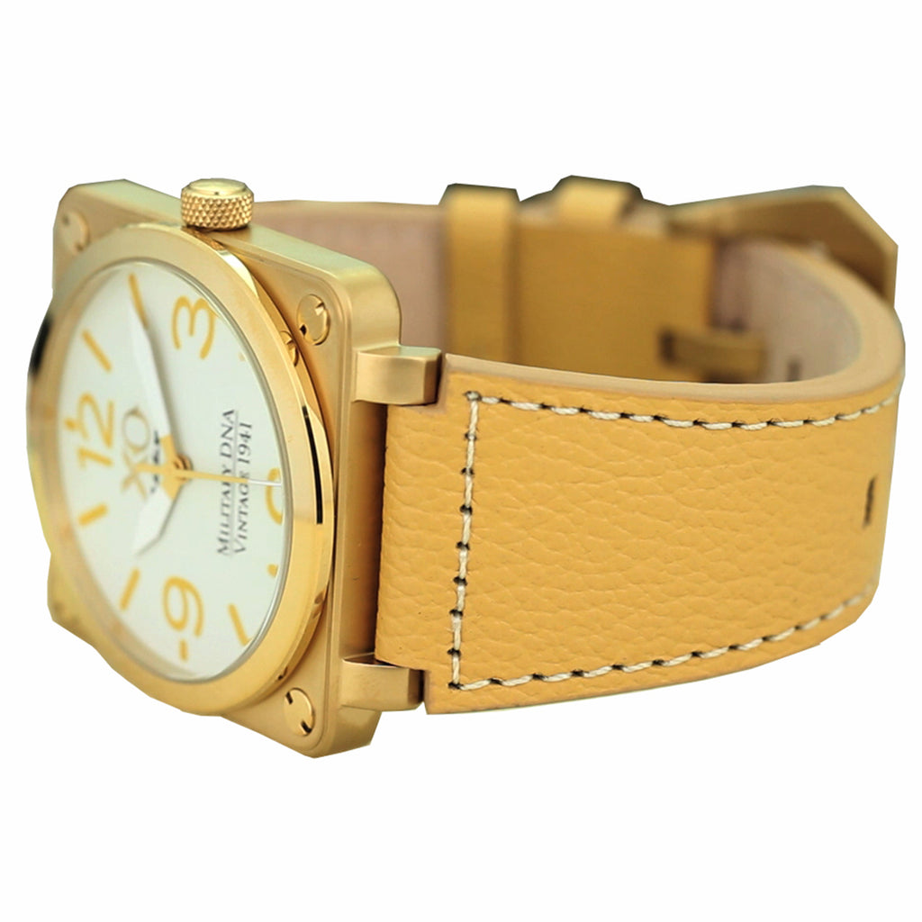 XO Retro Men's Certified 1941 P-51 Mustang DNA - Square Collection Yellow Gold Tone White Dial