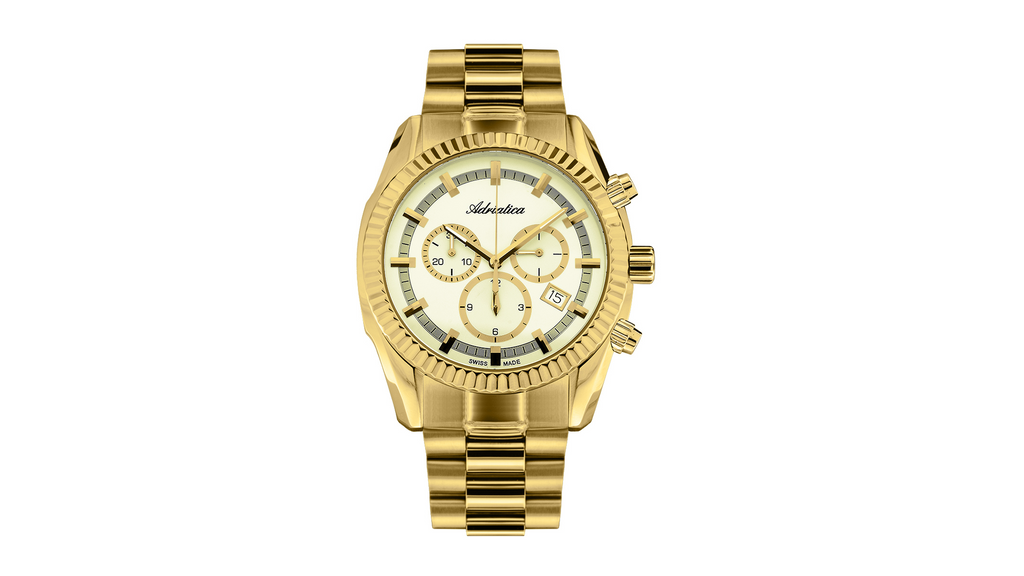 Adriatica 42mm Swiss Made Chronograph Gold Tone Champagne Dial