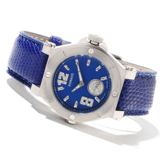 Renato Ladies Swiss Luxury Limited Edition Diamond Dial Blue Leather Strap