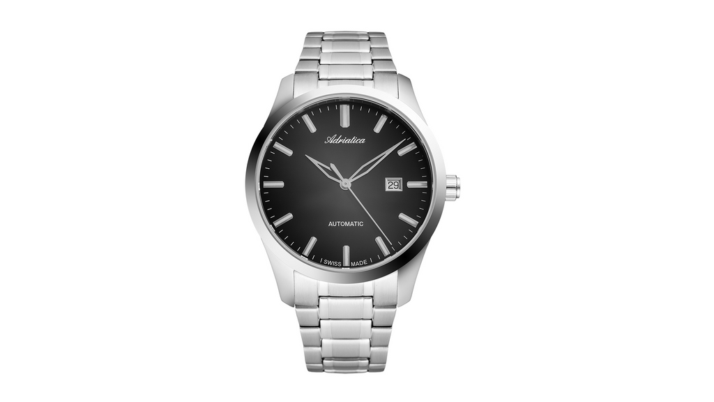 Adriatica 44mm Swiss-Automatic ETA2824 Stainless Steel Black Dial Glassback