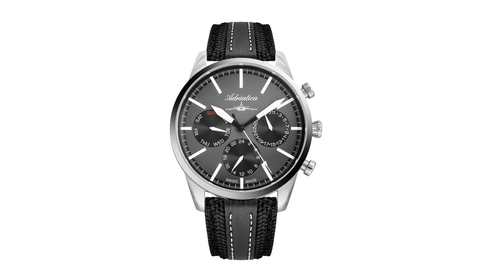 Adriatica Limited Edition Swiss Made Multifunction Aviation Grey Dial Black Leather Strap