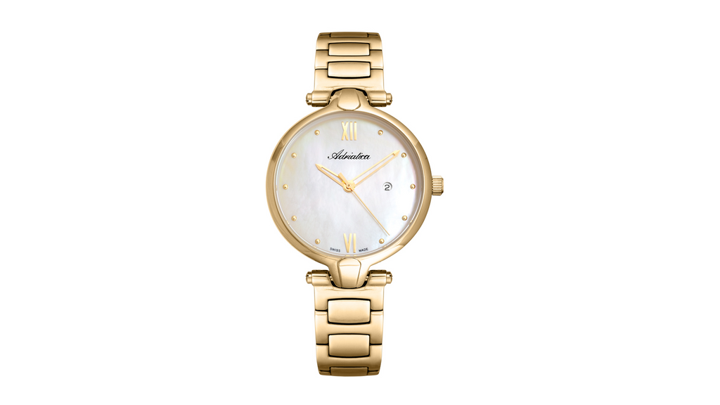 Adriatica ZEGAREK Ladies Swiss Made ETA F04 Stainless Steel White MOP Dial Stainless Steel Band