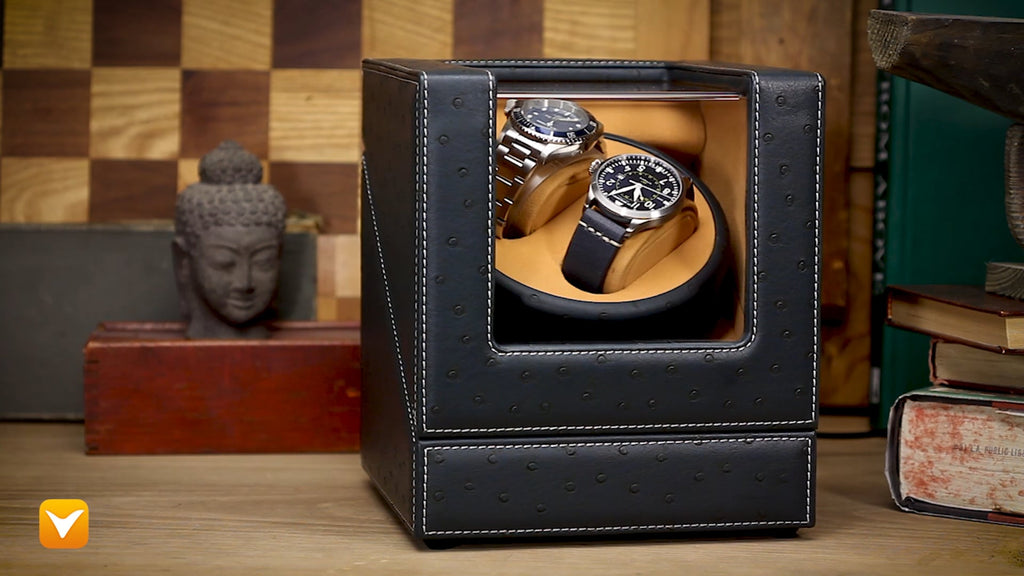 Di Bacarri Special Collector's Watch Winder Presentation Box - Blue Leather