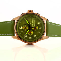 XO Retro Men's Certified 1943 P-38 Lightning Plane DNA Rose Gold Green Strap