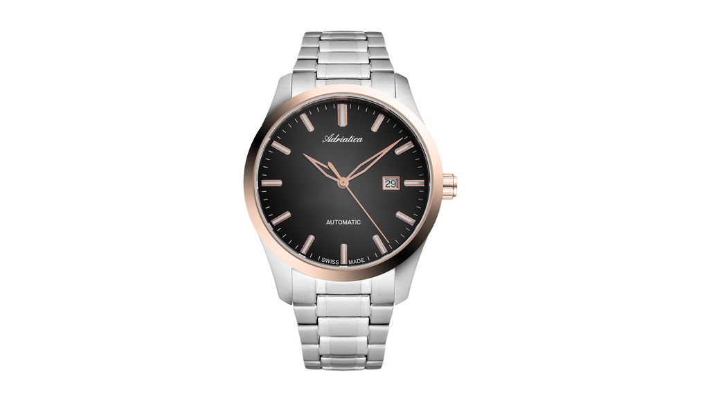 Adriatica 43mm Swiss-Automatic ETA2824 Stainless Steel Black Dial Rose Gold Bezel