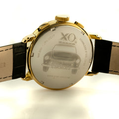 XO Retro Men's Certified 1960 Ferrari 250GT DNA - Yellow Gold Tone Gold Dial Blk Strap