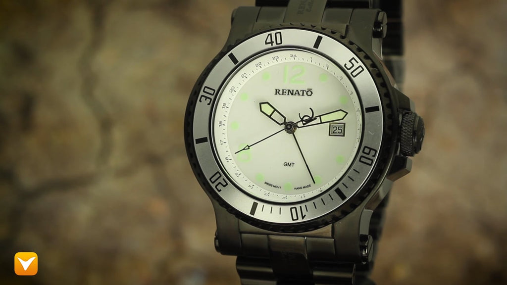 Renato T-Rex Diver GMT 2 Time Zone Limited Production 100pcs White Dial Silver Bezel