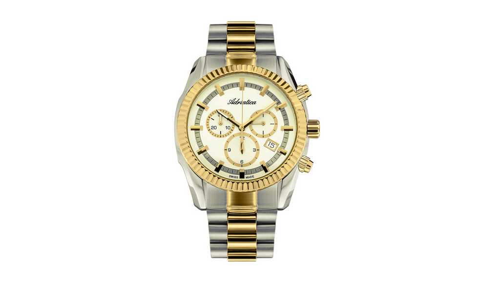 Adriatica 42mm Swiss Made Chronograph Gold Two-Tone Champagne Dial