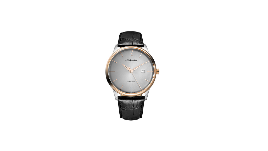 Adriatica 44MM Swiss-Automatic ETA 2824 Automatic Grey Dial Rose Gold Bezel Black Leather Strap