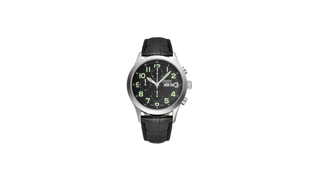 Adriatica 42mm Limited Edition Lumi-49 Swiss Made ETA7750 Black Dial Black Leather Strap